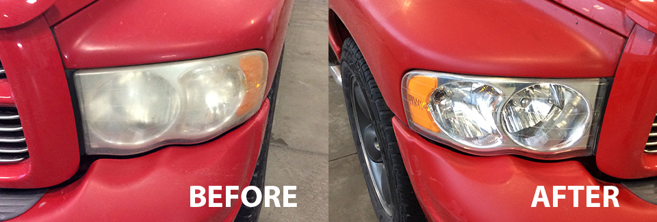 Before and after of Head light Restoration